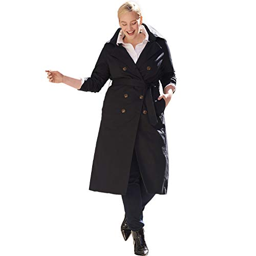 Double Breasted Raincoat - Jessica London Women's Plus Size Double Breasted Long Trench Coat - Black, 12 W