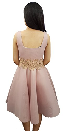 Aimerfeel diseñador de malla hueco tejido 3D estalló pivotar un vestido de fiesta de noche rosado salón de baile línea de verano, talla L-38 Rosado