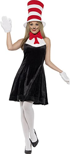 Smiffy's Women's Cat In The Hat Costume, Dress, Hat & Gloves, Size: -