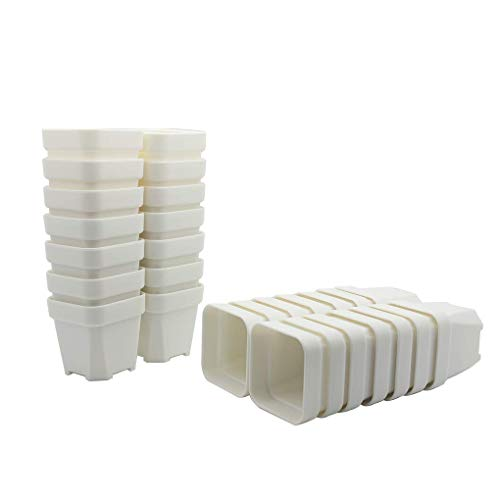 (BangQiao 28 Pack 2.55 Inch Plastic Square Nursery and Seedling Pots, White Tiny Starter Plant Flower Pots)