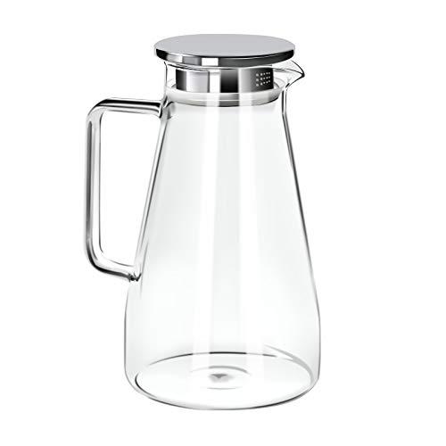 GA Homefavor Jarra de Vidrio para el te de 1500ml con Tapa de Acero Inoxidable