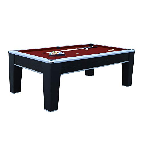 Hathaway Mirage 7.5' Pool Table, Black/Red (Levelers Roll Off)
