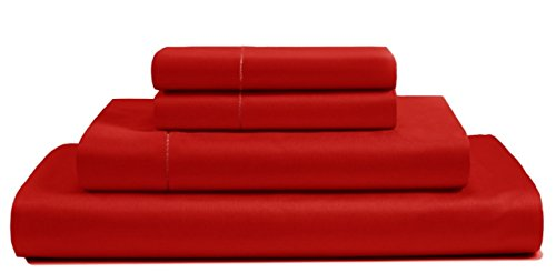 500 Thread Count Cotton Sheets Set - 100 Pima Cotton Pure Sateen Weave Long Staple Ultra Soft 4 Piece Bed Sheet Sets, Solids and Stripes Fits 18