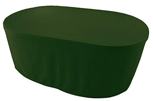 KaufPirat Premium Abdeckplane Oval 130x90x70 cm Gartenmöbel Gartentisch Hülle Abdeckung Haube Schutzhülle Abdeckhaube Olivgrün