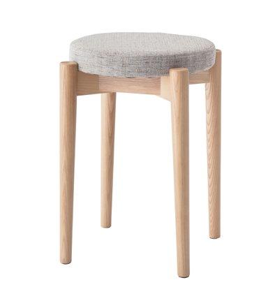 スツール スタッキングスツール ラウンドスツール 丸型いす 高さ44cm 腰掛椅子 いす 積み重ね収納 布地 布張り 玄関 ドレッサー リビング おしゃれ シンプル 天然木 木製 ベージュ B01N4DT51T ベージュ ベージュ