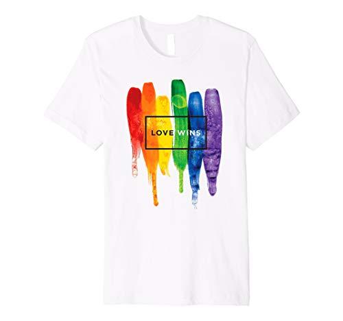 - LGBT Love Wins Rainbow Paint Typographic Premium T-Shirt