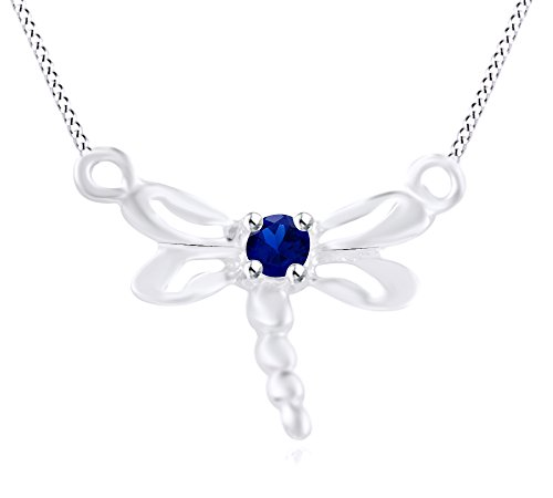 Wishrocks Simulated Blue Sapphire Dragonfly Pendant Necklace 14K White Gold Over Sterling Silver