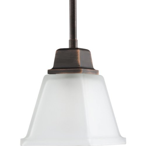 Progress Lighting P5135-74 1-Light Mini-Pendant with Twin Arching Arms and Square Etched Glass, Venetian Bronze by Progress Lighting