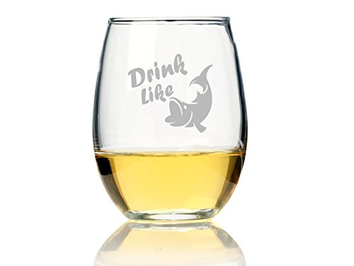 "Chloe and Madison""Drink Like A Fish"" Stemless Wine Glass, Set of 4"