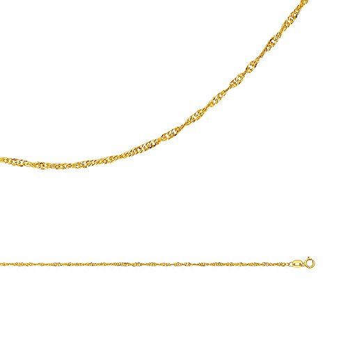 Gold Twisted Heart (Singapore Necklace Solid 14k Yellow Gold Chain Twisted Hollow Diamond Cut Thin Light, 1.6 mm - 16 inch)