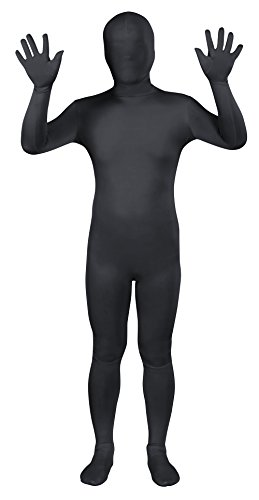 Sheface Black Spandex Morph Suit Full Bodysuit Zentai Fancy Dress Costume (Large, Black)