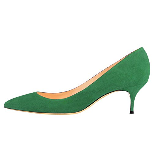 June in Love Women's Green Low Heels Shoes Pointy Toe Daily Pumps Suede-Green 10.5 US (Pump Green)