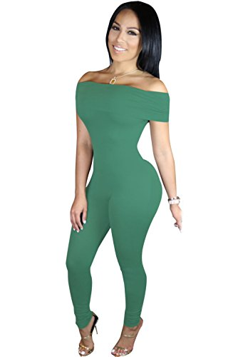 New Mesdames Vert Off The Shoulder monobloc Catsuit Skinny pour femme Body Club Wear Vêtements Taille S 8–10EU 36–38