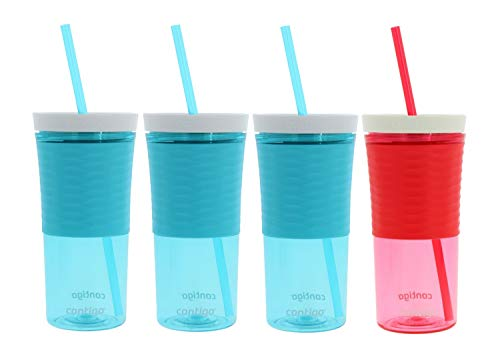 Contigo Shake and Go Double-Wall Tumbler 3 Pack, 18 ounces - Designed To Go Anywhere - Autoclose Technology Prevents Spills - Made of Shatter-Resistant Plastic - No BPA - 3 Ocean, 1 Watermelon