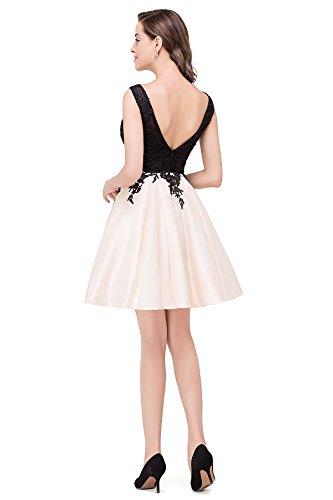 Kurz Taft MisShow V Hinten Partykleider 32 Rückenfrei Damen 46 Abendkleid Kurz Ballkleid Gr Ivory Abendkleider wqxH0wnSUT