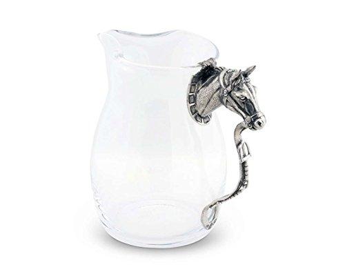 Horse Head Pitcher (Vagabond House Pewter Horse Head Handle Glass Pitcher 8.5