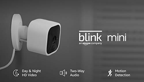 Blink Mini – Compact indoor plug-in smart security camera, 1080 HD video, night vision, motion detection, two-way audio, Works with Alexa – 2 cameras