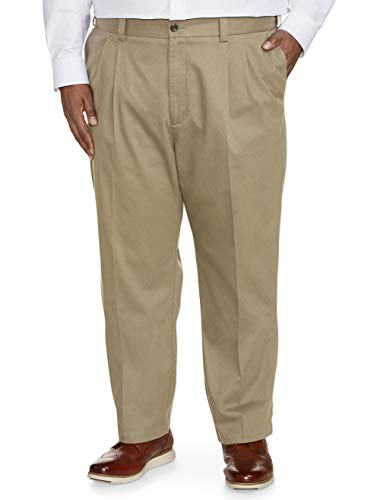 Amazon Essentials Men's Big & Tall Relaxed-fit Wrinkle-Resistant Pleated Chino Pant fit by DXL, Khaki, 56W x 32L