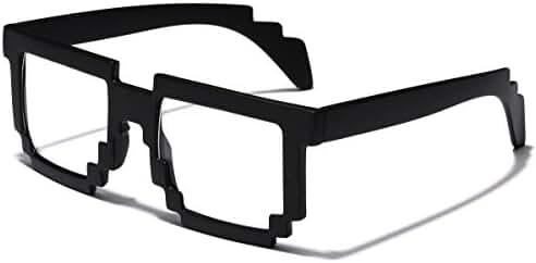 8 Bit Square Pixel Nerd Gamer Glasses Retro Novelty Sunglasses