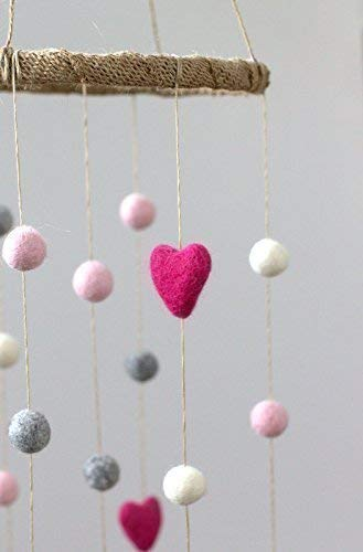 Felt Ball & Heart Nursery Ceiling Mobile- Hot Pink, Light Pink, Gray & White