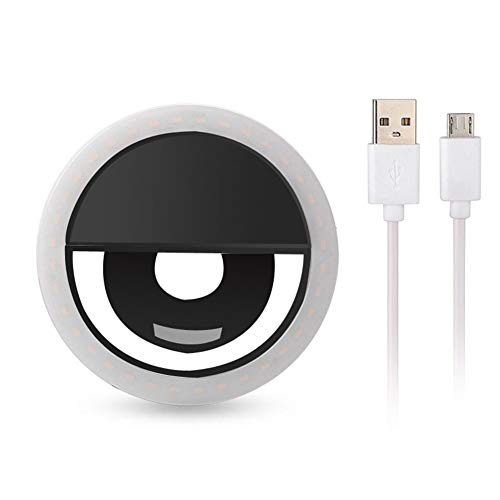Gabriely USB Charge Selfie Flash LED Camera Phone Photography Ring Light for Phones Tablets,Black