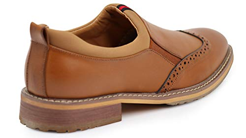 Perforated with Wingtips On Memory and Brown Men's Shoes Loafers Foam GNV1 Insole Rubber Dress Sole Out Slip WxnzWT