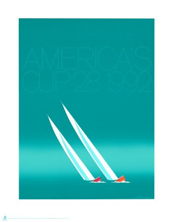 Duel ('92-blue America's Cup) Art Poster Print by Keith Reynolds, 23x30