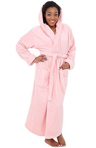 Alexander Del Rossa Womens Turkish Terry Cloth Robe, Long Cotton Hooded Bathrobe, Large XL Tea Rose (Long Terry Robe)