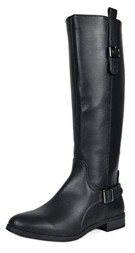 TOETOS Women's Sam Black Faux Leather Knee High Winter Riding Boots Size 6 M ()