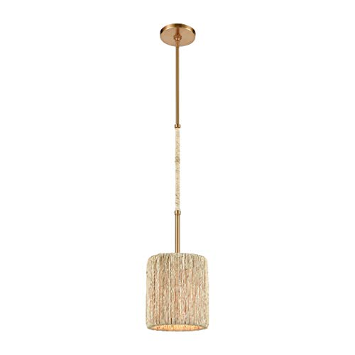 Abaca 1-Light Mini Pendant in Satin Brass with Abaca ()