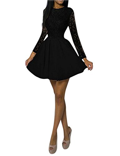 Yiwa Lady A-Line Short Dress Long Sleeve Round Neck Middle-Rise Waist Pure Color Lace Valentines Gift