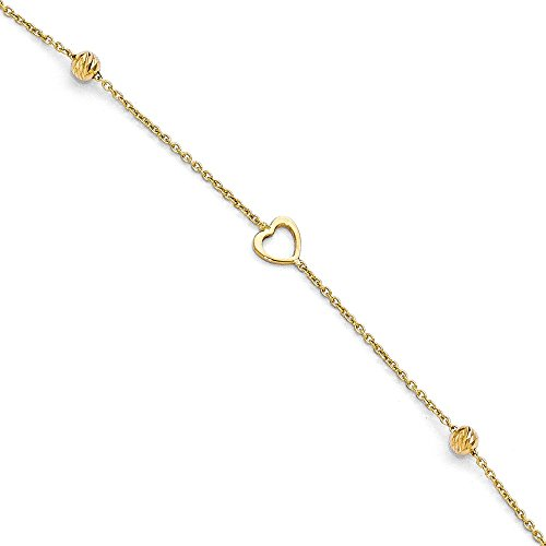 Black Bow Jewelry 14k Yellow Gold Open Heart and Diamond-Cut Bead Anklet, 10-11 ()