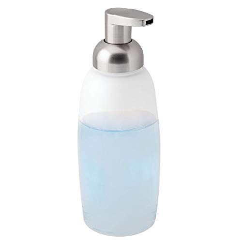 Frosted Glass Countertop - mDesign Modern Glass Refillable Foaming Soap Dispenser Pump Bottle for Bathroom Vanity Countertop, Kitchen Sink - Save on Soap - Vintage-Inspired, Compact Design - Clear Frost/Brushed