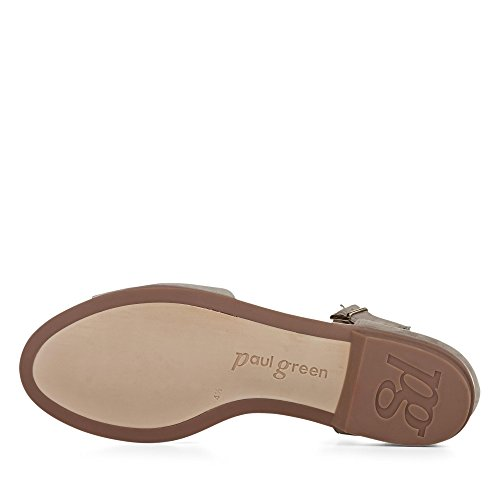 Paul Green 6093-019 Damen Sandale Aus Veloursleder Elegante und Filigrane Sohle beige/metallic
