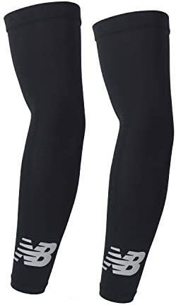 New Balance Unisex Outdoor Sports Compression Arm Sleeves, Arm Warmer, Black and White (1 Pair)