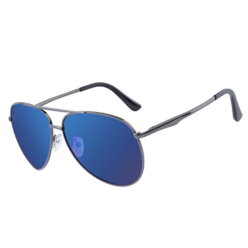 DUCO Aviator Style Polarized Sunglasses Sports Glasses For Men 100%UV Protection 3025G Blue