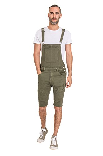 Yes Design Mens Dungaree Shorts - Detachable Bib - Green Bib-Overalls