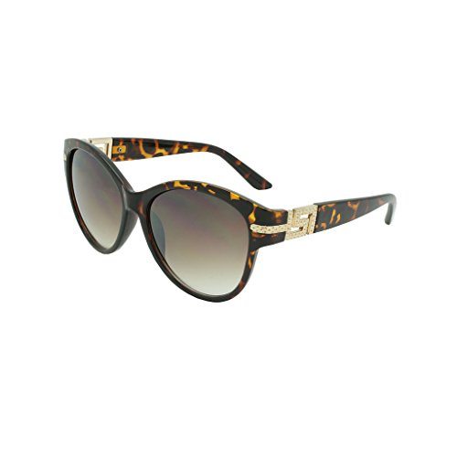 Georgio Caponi Butterfly Gold Greek Key Oval Sunglasses (Tortoise & Gold Frame, ()
