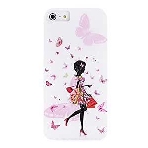 WEV IMD Technique Fashion Girls and Butterfly Pattern Plastic Case for iPhone 5/5S