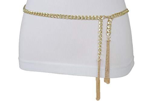 TFJ Women Fashion Metal Chain Belt Hip High Waist Fringes Tassel Gold Plus M L XL