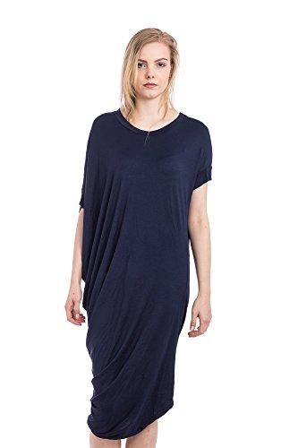 Abbino 7199 Shirts Tops para Mujeres - Hecho en ITALIA - 3 Colores - Entretiempo Primavera Verano Otoño Mujeres Casual Chica Vintage Fiesta Elegantes Interiores Fashion Dama Sexy - Talla única Azul