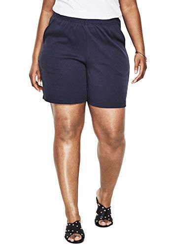 Roamans Women's Plus Size Soft Knit Shorts - Navy, 2X