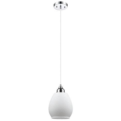 Globe Electric Snow 1 Light Hanging Pendant Matte White Finish Textured Glass Shade Chrome 65467