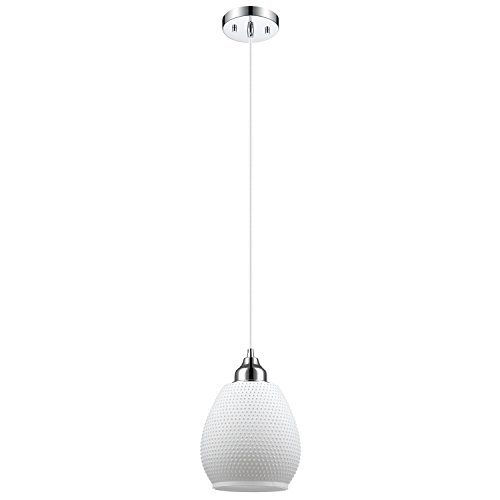 Globe Electric Snow 1-Light Hanging Pendant, Matte White Finish Textured Glass Shade, Chrome Finish, 65467