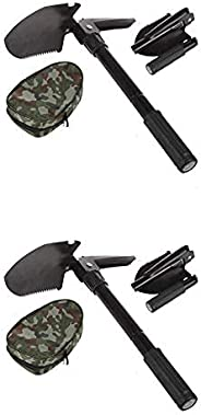 (2pack Black Shovel) Folding Shovel Foldable Camping Shovel Heavy Duty Alloy Steel Entrenching Tool 16.3 inch