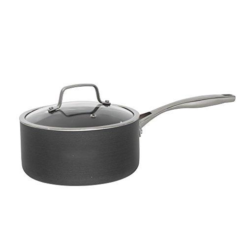 Bialetti Ceramic Pro Hard Anodized Nonstick Sauce Pan, 2 quart, Gray