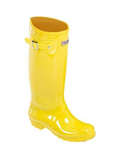 Ktc Ladies Womens Wellies Snow Rain Festival Wellington Boots Size UK 3, 4, 5, 6, 7, 8 Yellow