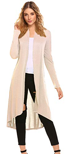 Cotton Cardigan Long - Trendy Extra Long Duster Soft Cardigan,Women High Low Hem Lightweight Open Front Draped Classic Party Long Cardigan(US XL(16-18), C-Beige)