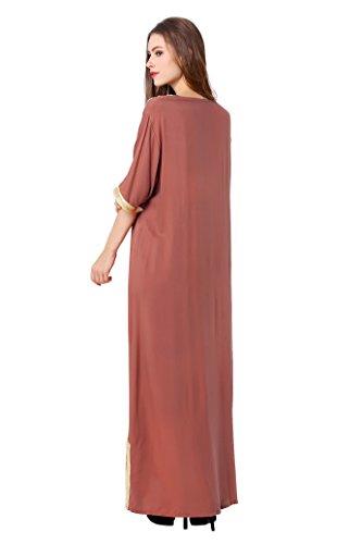 caftan vtements LF14 kaftan femmes Brun jalabiya de partie robe jupe soire Islam abaya robe de Musulmane longue Clair marie musulmanes Tq8txw