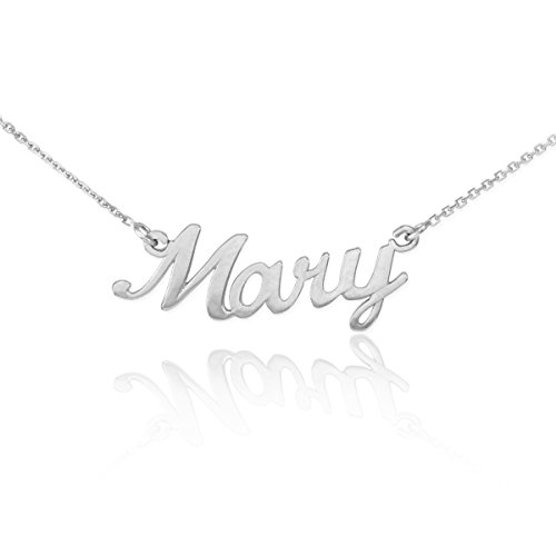 Dainty 925 Sterling Silver Custom Personalized Script Pendant Mary Name Necklace with 16